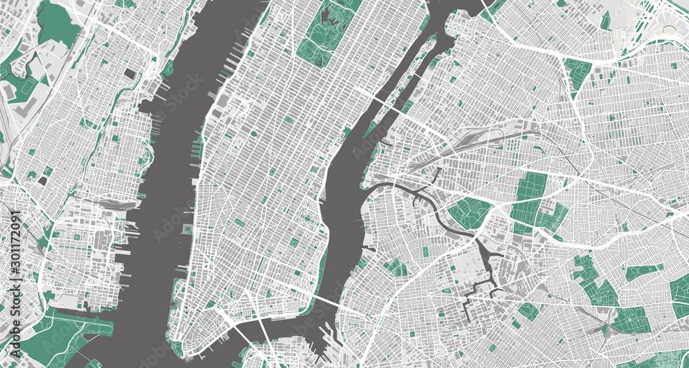 Fototapety, obrazy: Detailed map of New York City, USA