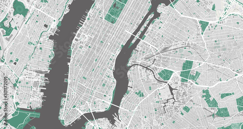 Fototapeta Detailed map of New York City, USA obraz