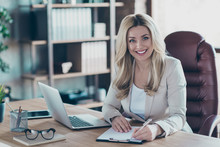 Photo Of Amazing Blond Business Lady Notebook Table Signing Contract Important Partner Prepared Documents Sitting Chair Formalwear Blazer Modern Office