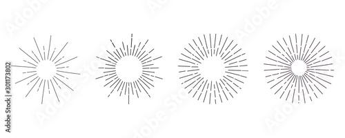 Set of light ray. Hand Drawn vector illustration