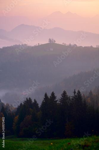 Foto op Plexiglas Purper Autumn landscape in Slovenia