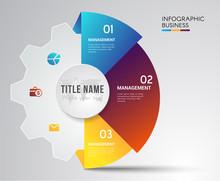 Cog Symbol Teamwork For Infographic.education And Business Concept Design,used For Banner,data,presentation Business,chart.Vector Illustration.