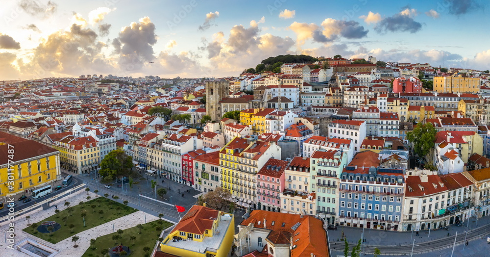 Fototapety, obrazy: Lisbon Panorama Alfama cityscape, beautiful European city with old architecture