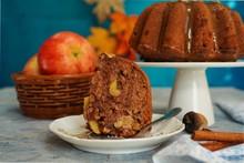 Homemade Apple Bundt Cake With Brown Sugar Glaze, Selective Focus