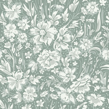 Monochrome Cute Floral Seamless Pattern With Daisies, Briar And Wild Flowers