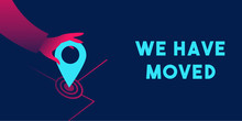 We Have Moved Banner Template In Red And Blue Neon Gradients