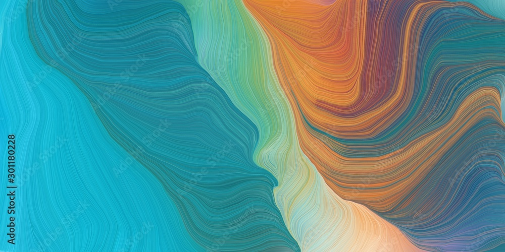Fototapeta curved lines background or backdrop with teal blue, peru and dark turquoise colors. good as graphic element