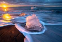 Little Icebergs At Sunrise In ...