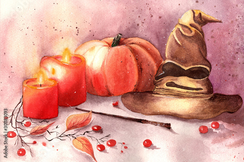Halloween decorations with Gryffindor hat , pumpkin, red berries, two red candles and Harry Potter magic wand. Autumn fairy tale evening by candlelight. Illustration can be used as a postcard.