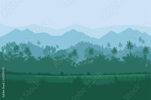 Foto auf Leinwand Himmelblau Natural jungle green forest mountains horizon trees Landscape wallpaper Illustration vector On comics style Colorful view background
