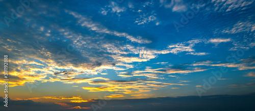 Fényképezés Panorama Sunlight with dramatic sky