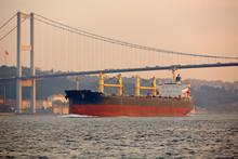 A Cargo Ship In The Bosphorus,...