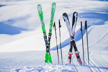 Skis In Snow In Winter Season,...