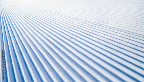 Tablou Canvas New groomed ski piste or slope
