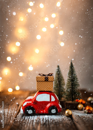 fototapeta na ścianę New year decoration and background for greetings with free space for text.