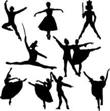 Ballet Silhouette Eps Vector Illustration, Nutcracker, Swan Lake, Ballet Workout