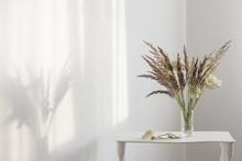 Wild Grass Plants In Glass Vas...