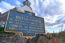 Rusty Old Sign With An Inscription For The Old Dutch Church In Upstate New York