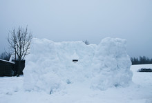 Wall Made Of Snow On Rural Field