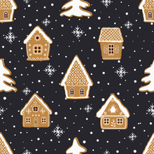 Christmas Background. Seamless Winter Pattern. Gingerbread Village. There Are Gingerbread Houses And Fir Trees On A Dark Blue Background. Greeting Card Template. Vector