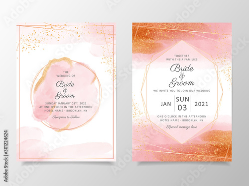 Fotografie, Tablou  Beautiful watercolor wedding invitation card template set with geometric frame and gold glitter