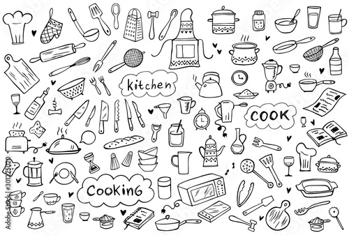Set of doodle kitchen tools on white background. Doodle kitchen equipments. Vector illustration. Can be used for wallpaper, pattern fills, textile, web page background, surface textures.