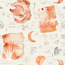 Seamless Pattern With Abstract Elements And Symbols, Moon, Hands And Watercolor Stains On A Textural Gray Background.