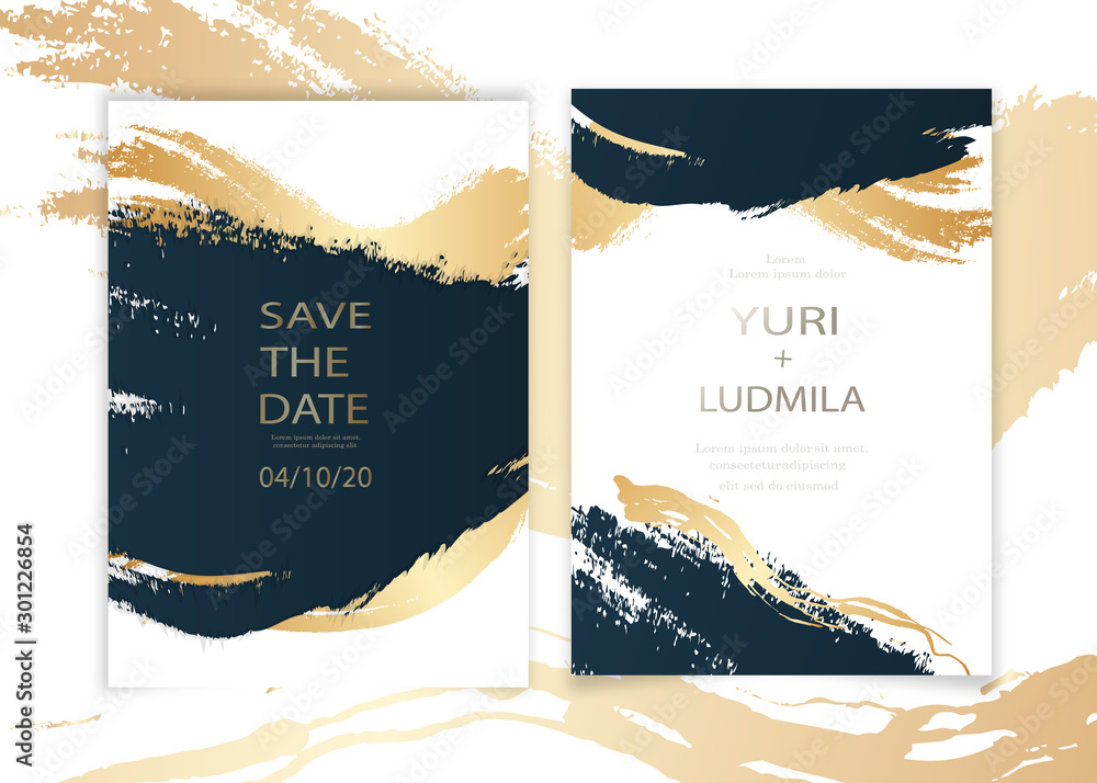 Fototapety, obrazy: invitation cards with luxurious gold and dark blue marble background texture and abstract ocean style vector template for wedding, new year, events.
