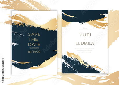Fotografia, Obraz  invitation cards with luxurious gold and dark blue marble background texture and abstract ocean style vector template for wedding, new year, events