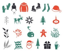 Christmas Icons Isolated On Wh...