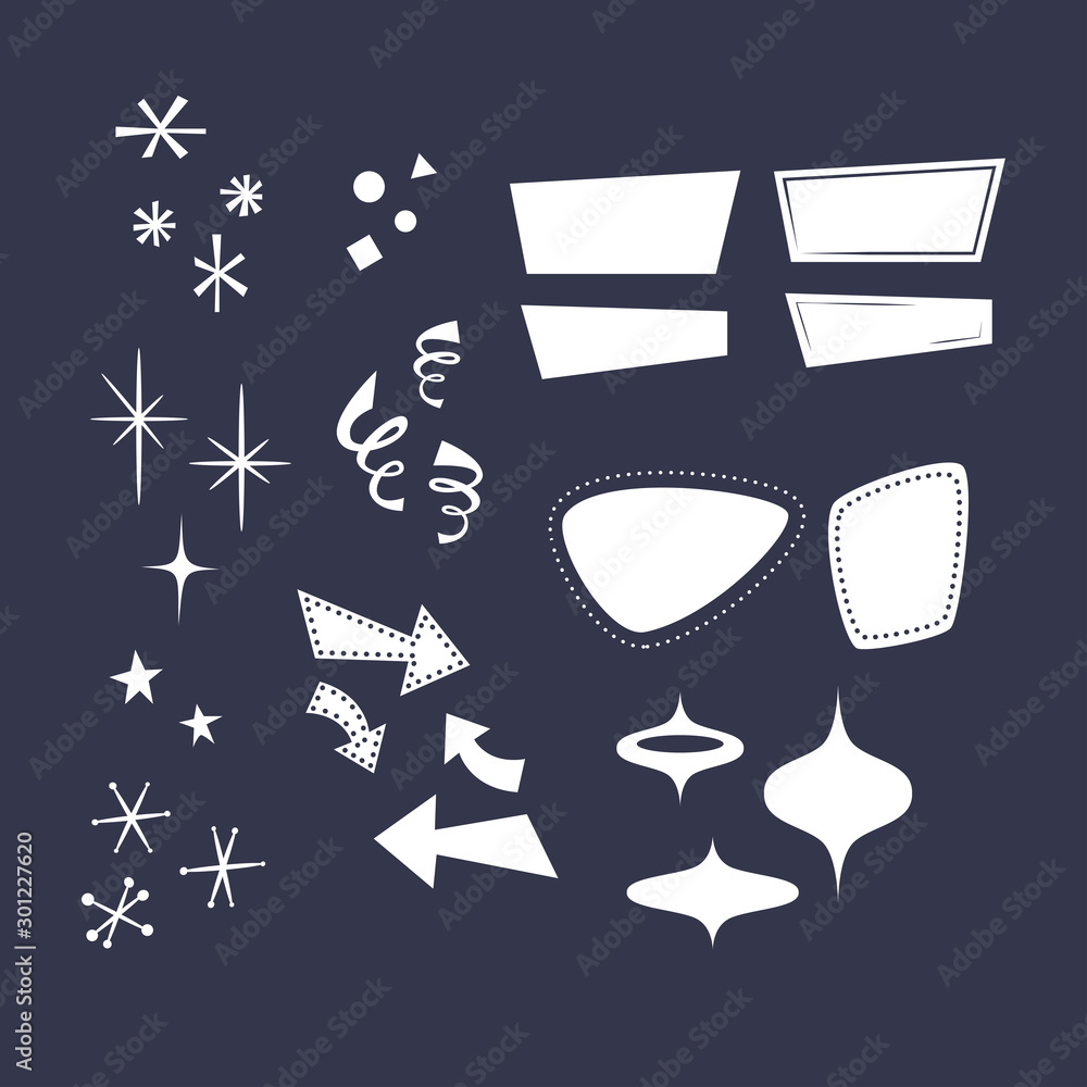 Fototapety, obrazy: Geometric shapes in the style of the 50s: arrows, rhombuses, lines, clouds, stars, snowflakes, triangles. Overlays, comic style forms.