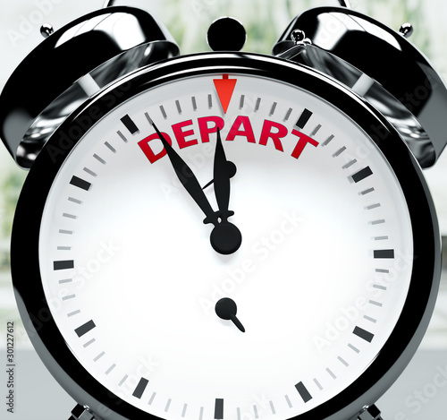 Depart soon, almost there, in short time - a clock symbolizes a reminder that De Fototapet