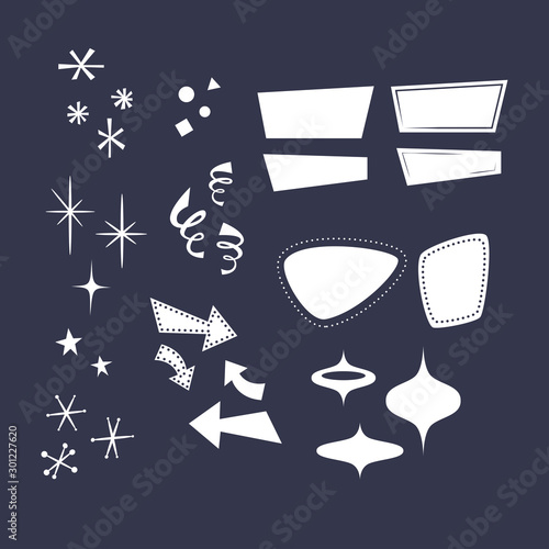 Geometric shapes in the style of the 50s: arrows, rhombuses, lines, clouds, stars, snowflakes, triangles Canvas Print