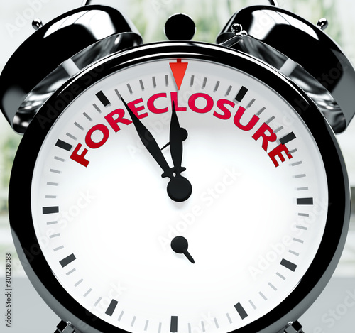 Fotografiet  Foreclosure soon, almost there, in short time - a clock symbolizes a reminder th