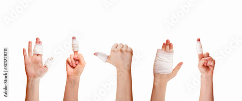 first aid adhesive bandage isolated on white Fototapete