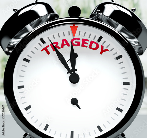 Fotomural Tragedy soon, almost there, in short time - a clock symbolizes a reminder that T