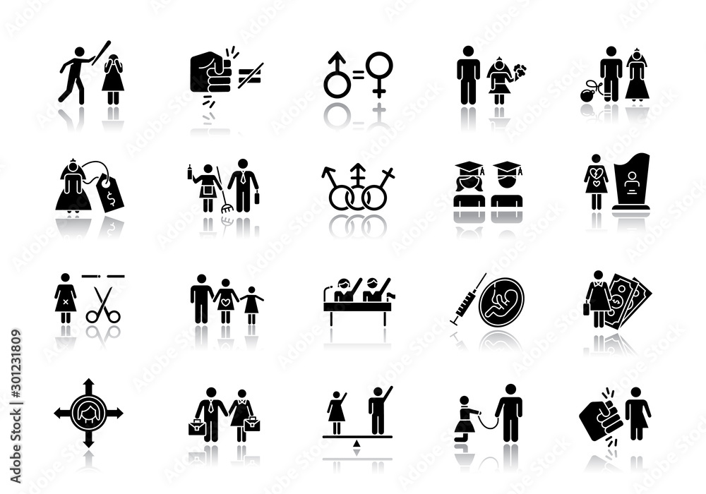Fototapety, obrazy: Gender equality drop shadow black glyph icons set. Woman, man right. Sexual slavery. Female economic activity. Transgender people. Employment, politics. Family planning. Isolated vector illustrations