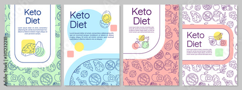 Fototapeta Keto diet brochure template. Ketogenic nutrition. Flyer, booklet, leaflet print, cover design with linear illustrations. Vector page layouts for magazines, annual reports, advertising posters obraz