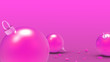 Leinwanddruck Bild - Pink Christmas balls with pink background. colorful xmas balls for christmas tree, Xmas glass, metal and plastic ball. Group of Baubles hanging Holiday decoration template. 3d render illustration