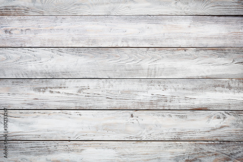 Gray wooden background with old painted boards - 301233267