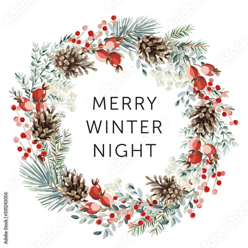 Christmas wreath with text Merry Winter Night, white background. Green pine, fir twigs, cones, red berries. Vector illustration. Nature design. Greeting card, poster template. Xmas holidays
