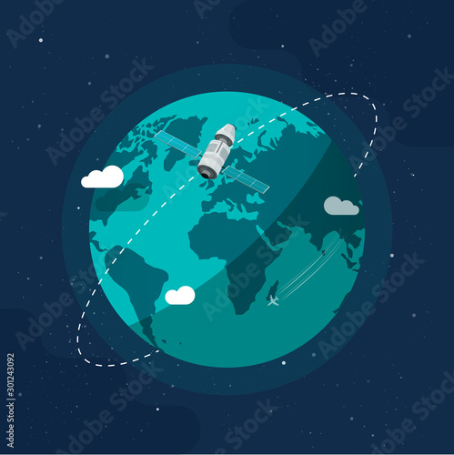 Obraz Earth in outer space vector illustration, flat cartoon satellite space ship flying around planet world, orbit station flight in cosmos or universe closeup image - fototapety do salonu