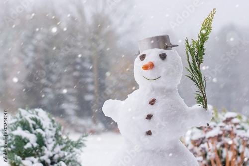 Lovely smiling snowman in the winter garden within a heavy snowfall Wallpaper Mural