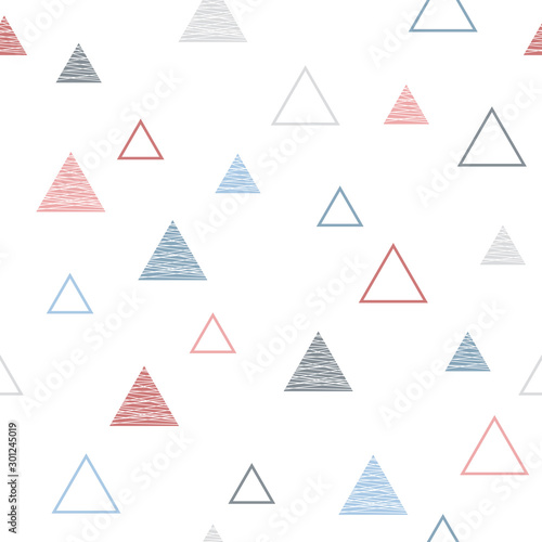 Vector seamless geometric pattern in scandinavian style with triangles Poster Mural XXL