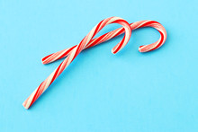 Christmas Composition. Candy Cane Decorations On Blue Background. Christmas, Winter, New Year And Holiday Card.