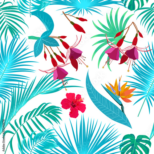 Tapety Turkusowe tropical-jungle-turquoise-palm-leaves-seamless-pattern-vector-background