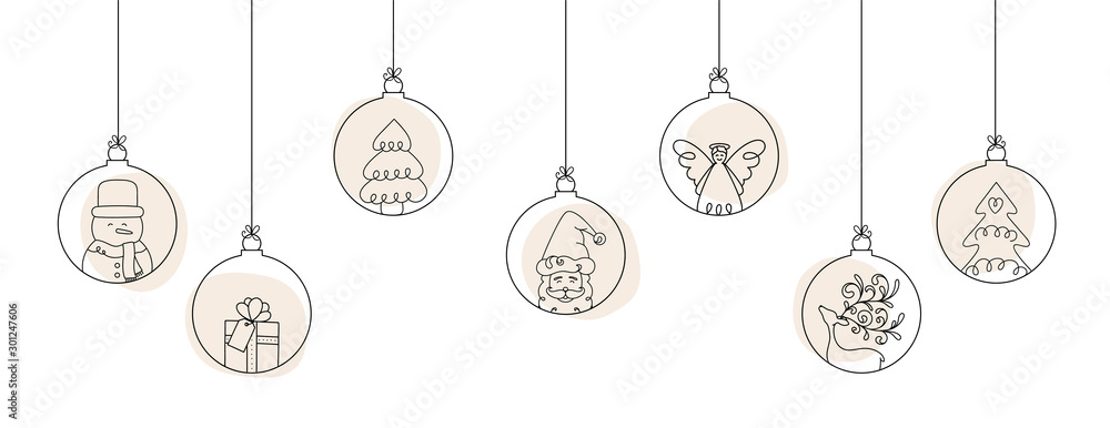 Fototapety, obrazy: Hand drawn Christmas ball illustration with Santa Claus and friends. Doodles and sketches vector design.