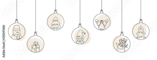 Obraz Hand drawn Christmas ball illustration with Santa Claus and friends. Doodles and sketches vector design. - fototapety do salonu