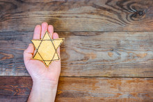 Male Hand And Star Of David On...