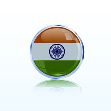 Indian Badge With Flag Realistic, Great Design For Any Purposes. Independence Day Wallpaper, Vector Illustration. Tricolor Indian Flag Background.